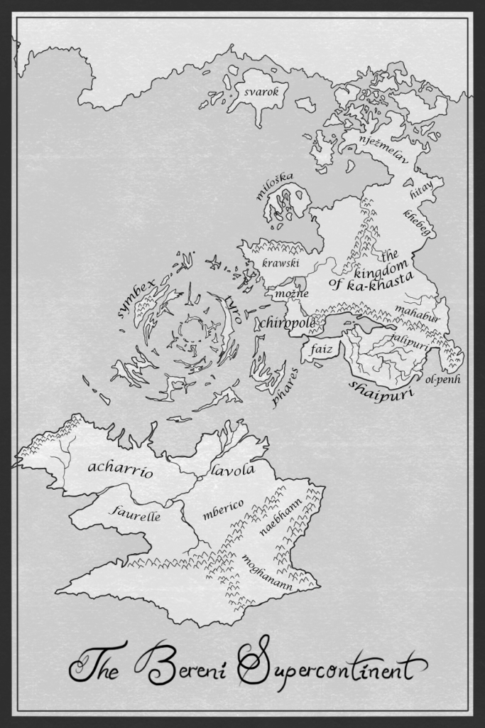 A labelled map ofthe Bereni Supercontinent